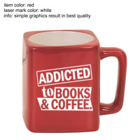 Addicted To Books & Coffee - Engraved Square Mug - Engraved Square Mug